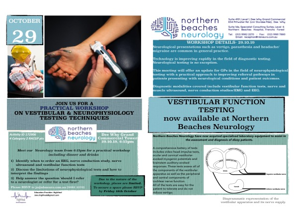 Neurological testing workshop for GPs; Tuesday 29th October